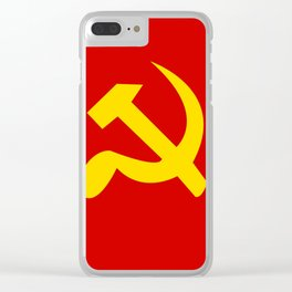 Soviet Union Hammer and Sickle Communist flag. Clear iPhone Case