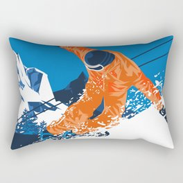 Snowboard Orange Rectangular Pillow