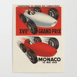 Vintage Monaco Grand Prix Poster - Circa 1959 Poster