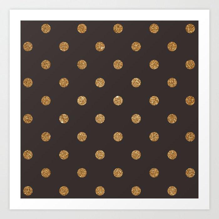 Dark Lava Gold Glitter Dot Pattern Art Print
