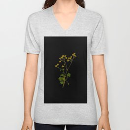 Cineraria Geifolia Mary Delany Delicate Paper Flower Collage Black Background Floral Botanical Unisex V-Neck