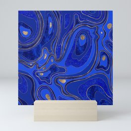 Marble Map - blue and gold Mini Art Print