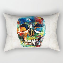 Colorful Skull Art - Aye Candy - By Sharon Cummings Rectangular Pillow