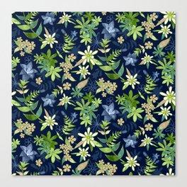 Alpine Flowers Blue - Gentian, Edelweiss Canvas Print