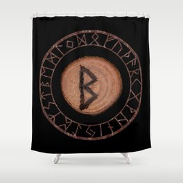 Berkano Elder Futhark Rune secrecy, silence, safety, mature wisdom, dependence, female fertility Shower Curtain