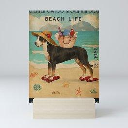 Beach Life Sandy Toes Greater Swiss Mountain Dog gift Mini Art Print