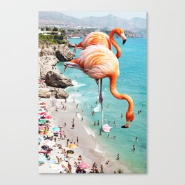 Flamingos on the Beach #society6 #decor #buyart Canvas Print