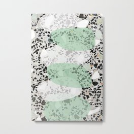 Terrazzo Abstract Design Mint Green & White Metal Print