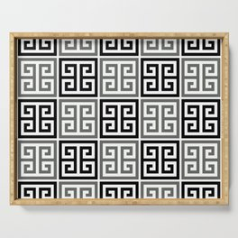 Gray Black And White Greek Key Pattern Serving Tray