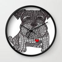 schnauzer Wall Clocks featuring Spunky - Schnauzer by DiAnne Ferrer