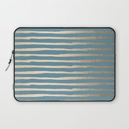 Abstract Stripes Gold Tropical Ocean Blue Laptop Sleeve