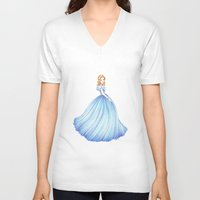 cinderella V-neck T-shirts featuring Cinderella by Maëlle Rajoelisolo