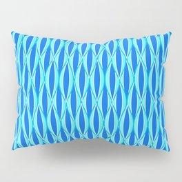 Mid-Century Ribbon Print, Shades of Blue and Aqua Pillow Sham