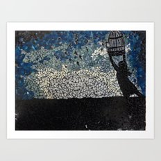 Free Bird  - Glass Mosaic Silhouette Art Print