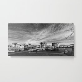 Caerphilly Castle Panorama Monochrome Metal Print