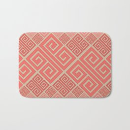 Meander Pattern - Living Coral #2 Bath Mat