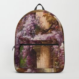 Peacock, White Doves, Yellow Iris & Purple Flowering Wisteria in a Garden landscape floral painting Backpack