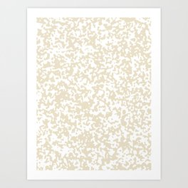 Small Spots - White and Pearl Brown Art Print