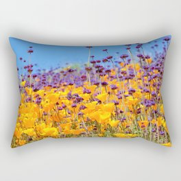 Orange Poppies and Purple Wildflowers with Butterfly (2) by Reay of Light Rectangular Pillow