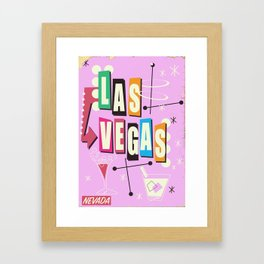 Vintage Las Vegas Vacation print pink version Framed Art Print