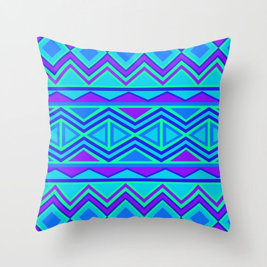 Blue And Lavender Throw Pillows : Tribal Pattern (blue & purple) Throw Pillow by Christinarashel Society6
