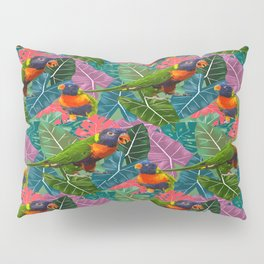 Parrots and Tropical Leaves Pillow Sham
