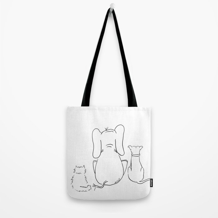 Cat, elephant, and dog friendship trio Tote Bag
