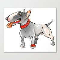 bull terrier Canvas Prints featuring Bull Terrier by Paola Canti