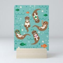 Kawaii Otters Playing Underwater Mini Art Print