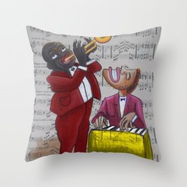 African American 'Apollo Theater Sheet Music Portrait No. 6' Hot Jazz by Miguel Covarrubias Throw Pillow
