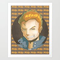 mike wrobel Art Prints featuring Mike  by EY Cartoons