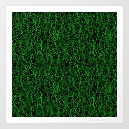Elio's Shirt Faces Bright Green Neon on Black Art Print