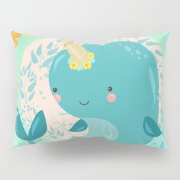 Pretty Princess Narwhal Pillow Sham