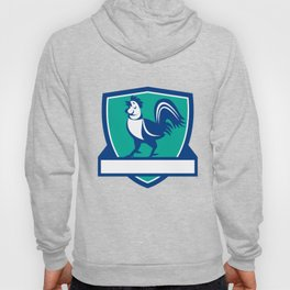 Chicken Rooster Crowing Shield Retro Hoody