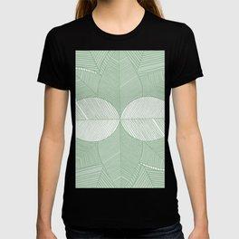 Minimal Tropical Leaves Pastel Green T-shirt