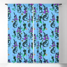 Mermaid Witch with Merkitten Blackout Curtain