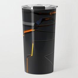 Black fractured surface with orange glowing lines Travel Mug