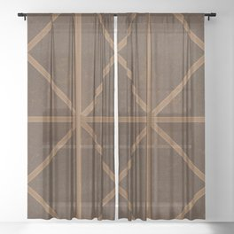 Digitial Faux Brown Leather and Union Jack Cross Design Sheer Curtain