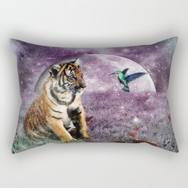 Tiger and Hummingbird Rectangular Pillow