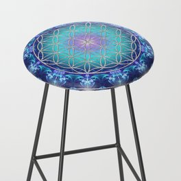 Flower Of Life Mandala Fractal turquoise Bar Stool
