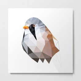 Bearded reedling Geometric bird art Metal Print