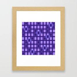 Mid Century Modern Retro Geometric Purple Rectangles Framed Art Print