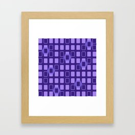 Mid Century Modern Retro Geometric Purple Rectangles Framed Art Print
