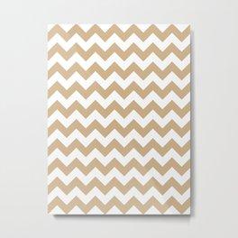 White and Tan Brown Horizontal Zigzags Metal Print