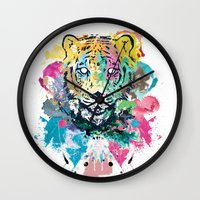 psychadelic Wall Clocks featuring Tiger Splash by Geo Law