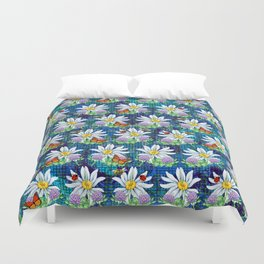 Flowers and bugs pattern Duvet Cover