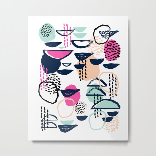 Rumba - pattern print retro cool hipster art colorful feminine shapes abstract Metal Print