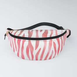 Abstract pink coral teal aqua watercolor zebra pattern Fanny Pack