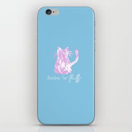 Down to Fluff Cute Cat Quote Blue and Pink Abstract Print iPhone Skin