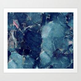 Blue marble texture Art Print